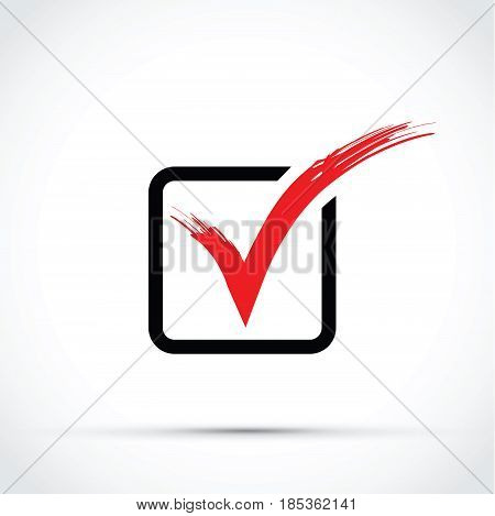 a red tick on a black box