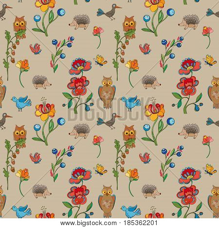 Pattern. Flowers with owls and hedgehogs . Vector illustration.