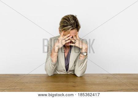 Mature Woman Hand Gesture Heads Down