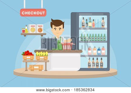 Cashier in supermarket. Checkout with man in uniform and grocery.