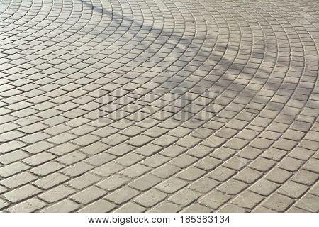 Cobble stone pavement background. Krakow main square