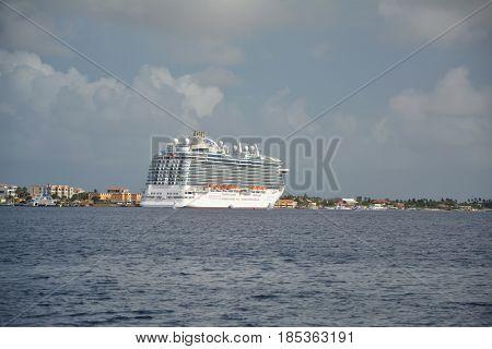 Royal Princess Ship Docked In Bonaire Port