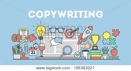 Copywriting concept illustration on bue background. Workplace with icons.