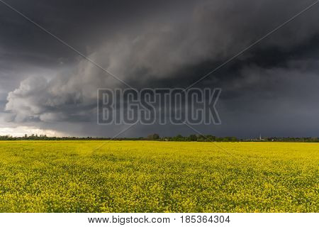 A weather front rolls in across rapeseed fields in Lechlade Gloucestershire UK