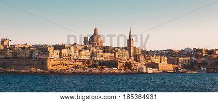 Valletta cinematic graded citiscape view Malta, EU