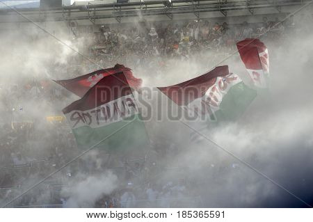 Rio Brazil - may 07 2017: Fans in match between Flamengo and Fluminense by the final macht Carioca championship in Maracana