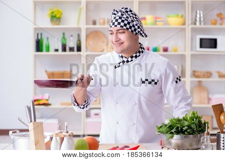 Young male cook working in the kitchen