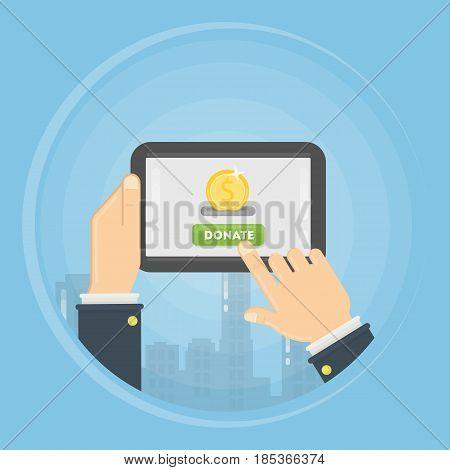 Money donation through tablet concept illustration. Symbol charity.