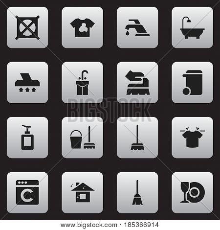 Set Of 16 Editable Cleanup Icons. Includes Symbols Such As Cleaning Kit, Bathroom, Unclean Blouse And More. Can Be Used For Web, Mobile, UI And Infographic Design.