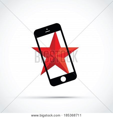 mobile cell phone with a red star background