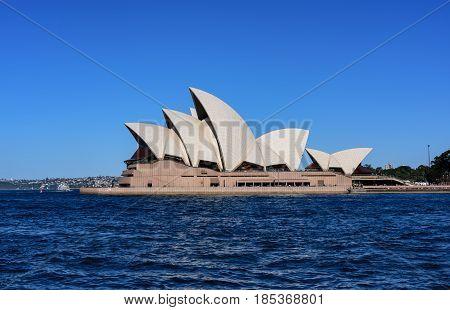 SYDNEY AUSTRALIA - May 8 2017: View of Sydney Opera House. Sydney Australia Over 10 millions tourists visit Sydney every year
