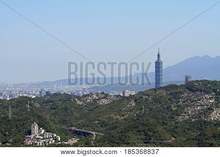 Taipei 101 And Cityscape Of Taipei From Maokong, Taiwan