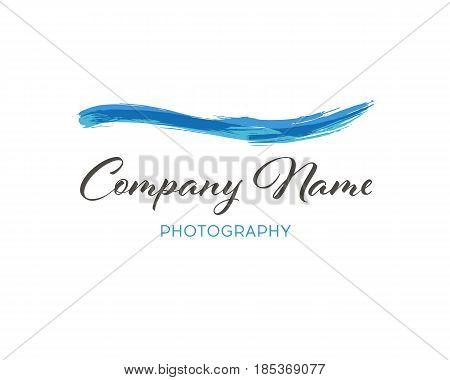 Water wave brush Logo Template. Grunge Wave Logo Element. Surfing Icon . Brush Stroke . Vector Illustration.