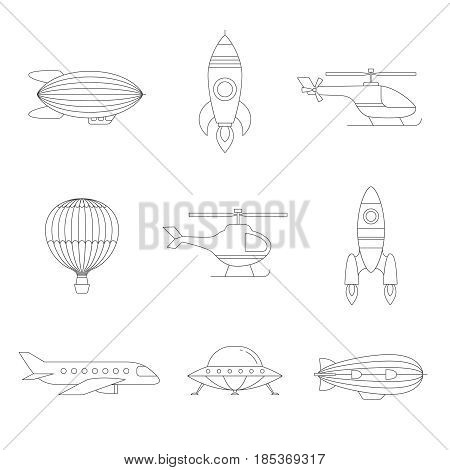Air transportation outline icon set. Clean and simple design. Part one.