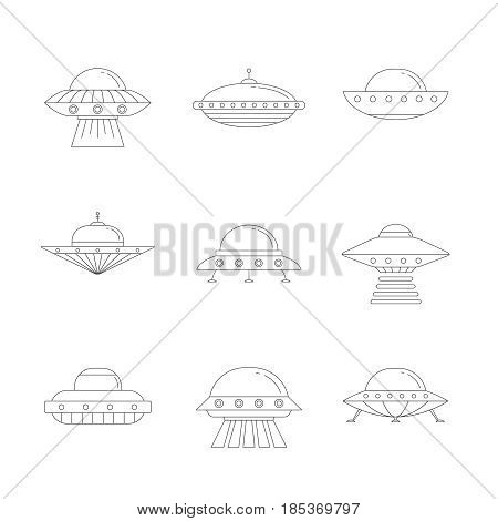 Ufo outline icon set. Clean and simple design.