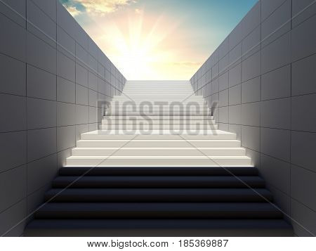 Empty white stairs in pedestrian subway on sky background. 3d illustration