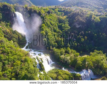 Aerial View of Marmore's Falls in Umbria Italy one of highest waterfall of Europe