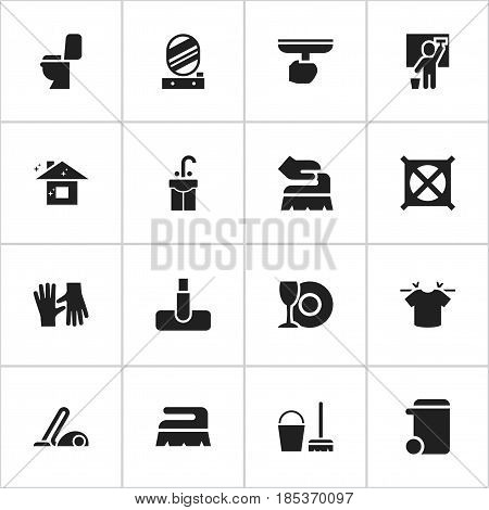 Set Of 16 Editable Dry-Cleaning Icons. Includes Symbols Such As Brush, Wall Mirror, Vacuum Cleaner And More. Can Be Used For Web, Mobile, UI And Infographic Design.