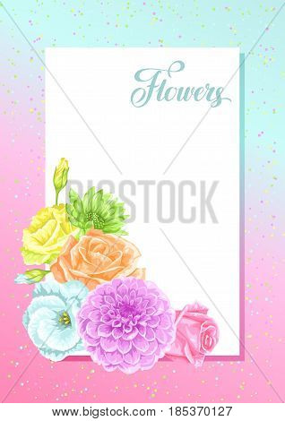 Invitation card with decorative delicate flowers. Image for wedding invitations, romantic cards, posters.