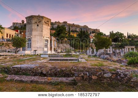 Acropolis, Tower of Winds and remains of Roman Agora in the old town of Athens, Greece.
