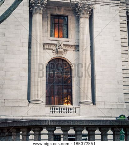 Window of new York  city public  library