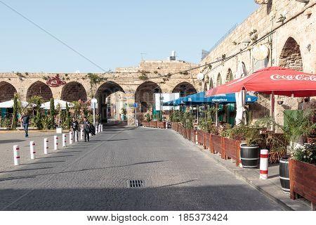 Acre Israel - April 20 2017 : Caravanserai Khan Ahawardh of the old city of Acre in Israel