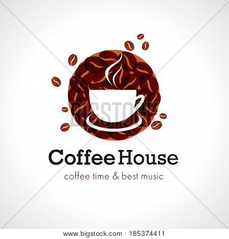 Coffe house cafe logo. Vector design brand sign for coffee shops and cafe bars. Coffee time & best music text