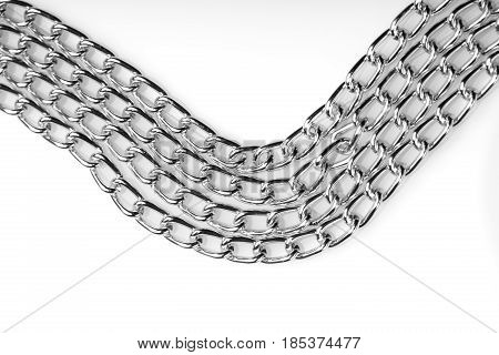 Chain heap - abstract metal background. Collection silver jewelry chains on an isolated black background. Set of different lenght metal chain. Accessories. Bijouterie. Silver.
