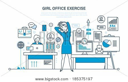 Girl office exercise. Girls in the office do exercises, in different positions and poses, for rest and recovery. Illustration thin line design of vector doodles, infographics elements.