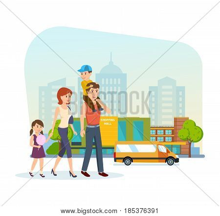 Shopping people concept. Young family for shopping at the mall, got out of the store and go on a city street with shopping holding hands. Modern vector illustration isolated on white background.