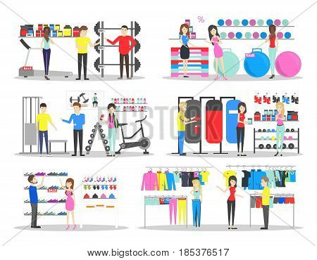 Sport store interior. Salespeople with visitors. Buying sports clothes on white background.