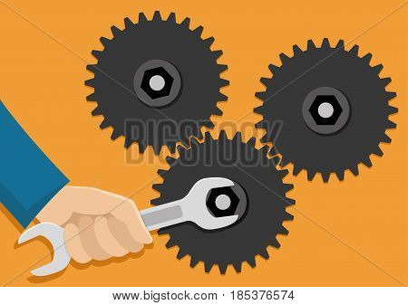 Gears and hand with a wrench on a orange background.