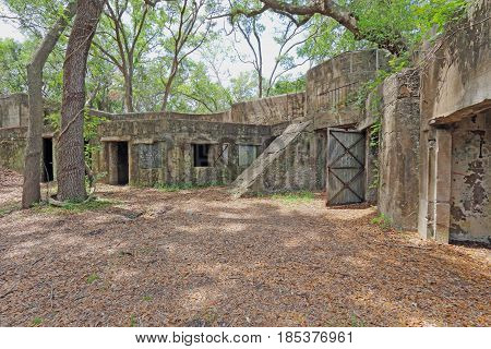 Concrete ruins of the gun battery at Fort Fremont constructed during the Spanish-American war beginning in 1899 on Saint Helena Island in Beaufort County South Carolina