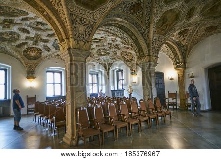 Poznan, Poland - April 30, 2017: The Town Hall Interiors Were Co