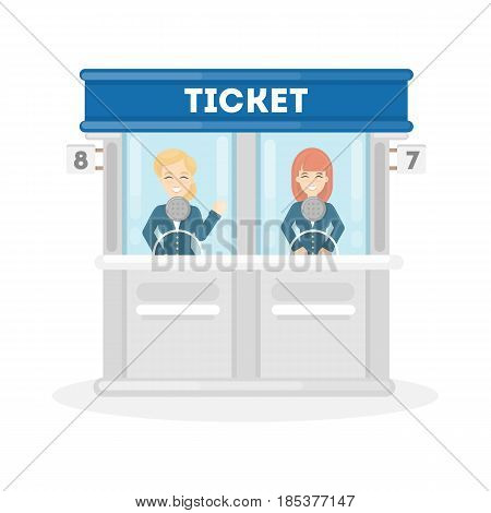 Selling tickets illustration. Two women sell theatre or cinema tickets.