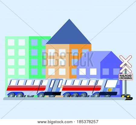 vector illustration of train flat skew icon