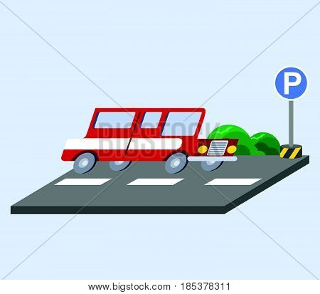 Vector illustration of red car flat skew icon