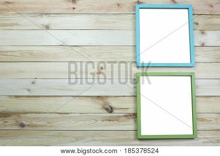 picture frame of modern on wooden background and have empty copy space to input your work.