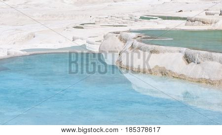 Natural travertine pools and terraces at Pamukkale ,Turkey. Pamukkale, meaning