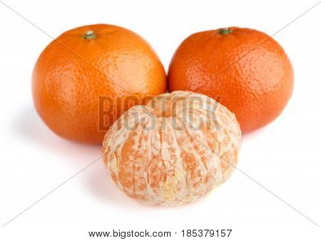 Ripe Mandarin Close-up On A White Background. Tangerine Orange. Colorful Food And Drink Still Life C