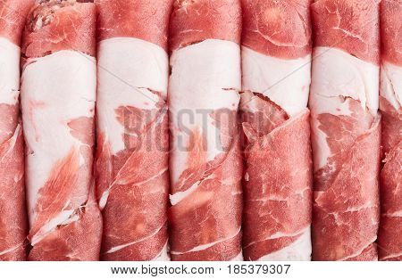 Raw Pork Meat. Bacon With Veined Veins. Minced Meat. Meat Dish. Beef. Texture Of Meat Close-up.