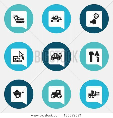 Set Of 9 Editable Building Icons. Includes Symbols Such As Excavation Machine, Truck, Endurance And More. Can Be Used For Web, Mobile, UI And Infographic Design.