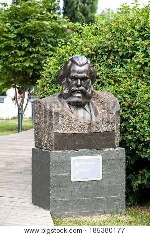 Moscow, Russia - July, 2016: Karl Marx bust in Park of Art Museon in Moscow, Russia