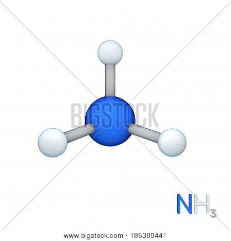 Ammonia model molecule. Isolated on white background. 3D rendering illustration.