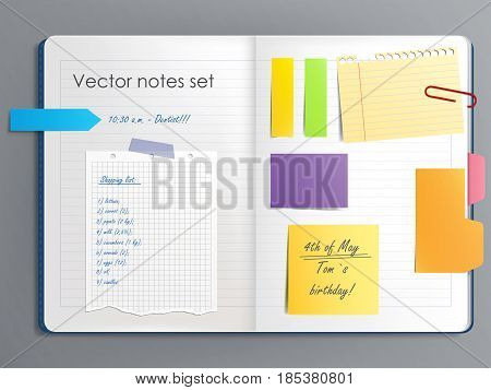 Vector illustration of a notebook page with various colored sticky paper notes in a realistic style