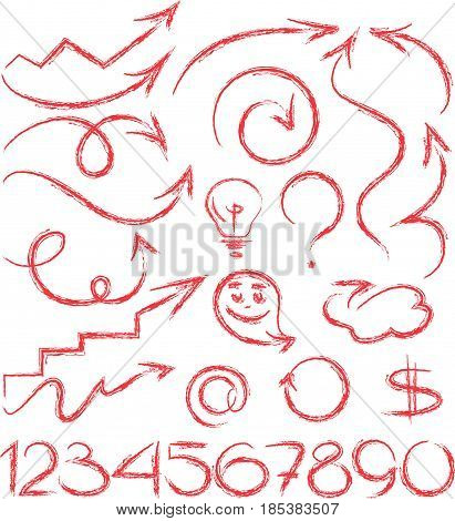 Set red icons different signs arrows numeral