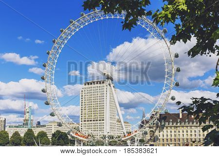 Cityscape Of London Including The London Eye On A Sunny Summer Day