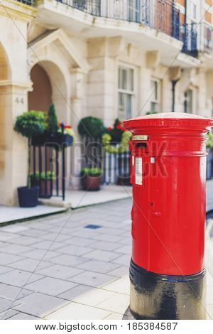 One Of The Characteristic Red Mailbox In Central London In Mayfair With Beautiful Architecture Bokeh