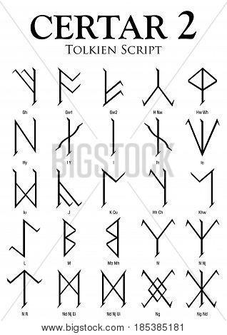 CERTAR Alphabet 2 - Tolkien Script on white background - Vector Image