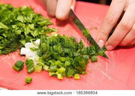 sliced green onions with a knife . A photo